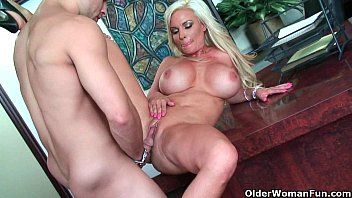 milf blond guy black the over counter by gets bent kitchen Gril hores sex